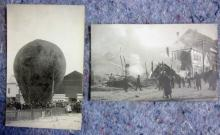2 EARLY 1900'S REAL PHOTO POSTCARDS AIR BALLOON MARSHFIELD OREGON + UNKNOWN FIRE
