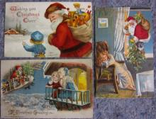 3 EARLY 1900'S SANTA CLAUS POSTCARDS DIRIGIBLE TOYS CHILDREN CLAPSADDLE