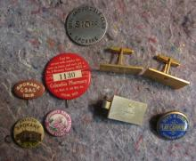 SPOKANE PINS & JEWELRY LOT 1938 1ST LILAC PIN MAYOR'S CUFFLINKS ETC