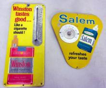 2 VINTAGE TIN CIGARETTE THERMOMETERS SALEM WINSTON