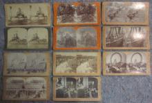 11 STEREOVIEW CARDS SPANISH AMERICAN WAR FERRIS WHEEL TEDDY ROOSEVELT ETC