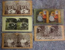 5 STEREOVIEW CARDS BLACK AMERICANA CUBA ETC