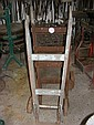 Two sets of old wooden sack trucks