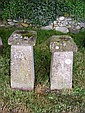 Two concrete staddlestones with shaped tops
