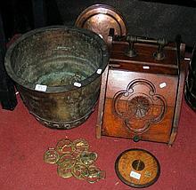 Oak coal scuttle, metal jardiniere, warming pan,
