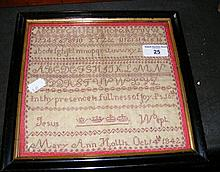 A 21cm square Victorian needlework sampler by Mary