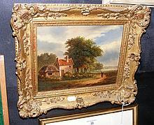 M JAY? - 19cm x 24cm - oil on panel - rural scene