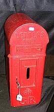 A George V red painted cast iron letter box by