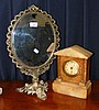 Onyx cased mantel clock timepiece and a