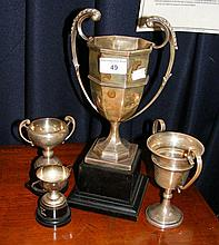 A two handled silver trophy The