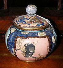 A fine quality melon shaped cloisonne vase and