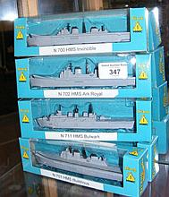 Five boxed Tri-ang Minic Royal Navy ships