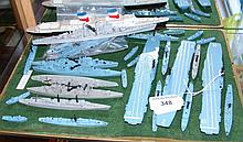 A selection of Tri-ang model naval ships and other