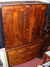 A 19th century mahogany linen press