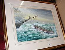 M. BENSLEY - watercolour of lifeboat rescue -