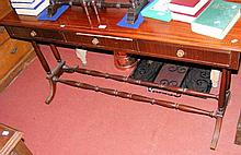 Regency style mahogany three drawer side table