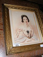 A watercolour of seated Victorian lady