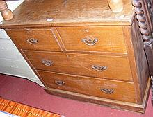 An antique pine chest of two short and two long