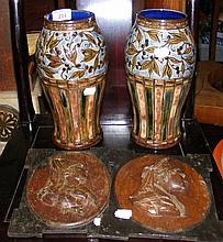 A pair of Doulton stoneware vases, together with