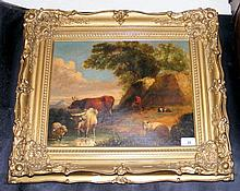 An antique oil on canvas of cattle and sheep