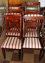 Six various mahogany dining chairs