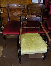 Three various antique dining chairs