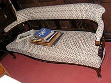Edwardian mahogany settee with elegant shaped