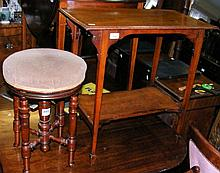 An antique revolving piano stool, together with a