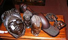 Various carved African busts