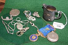 Various collectables, including silver fob watch,