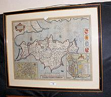 An antique JOHN SPEED Isle of Wight map with hand