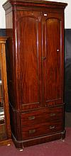 A narrow Victorian mahogany wardrobe with two