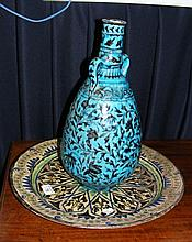 Antique continental pottery charger, together with