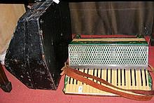 An old Hohner piano accordion with carrying case