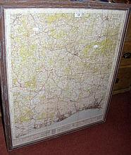 A framed and glazed Ordnance Survey Map of the