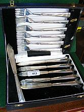A cased set of Art Deco style silver fish knives