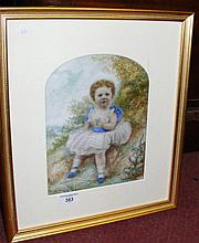 A hand painted on milk glass - portrait of a