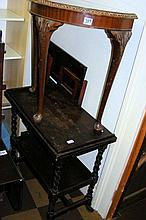 An oak two tier tea trolley, together with a hall