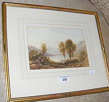 A watercolour landscape with figures by EDWARD