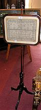 Antique mahogany pole screen, having inset sampler