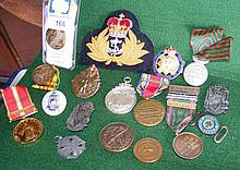 Various military badges, medals etc.