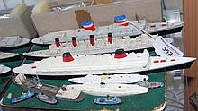 Various cast metal Tri-ang model ships