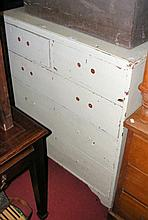 An old painted pine chest of two short and three