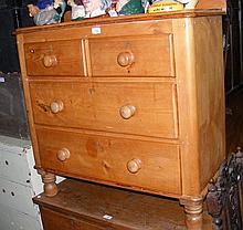 Antique pine chest of two short and two long
