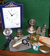Various collectables, including mantel clock,