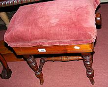A 19th century adjustable piano stool on turned