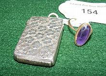 Silver vesta case, together with amethyst ring