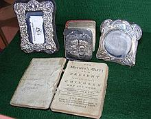A miniature silver photo frame etc.