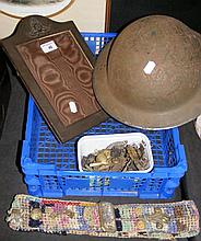 Second World War metal helmet, together with