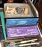 Two cased sets of draughtsman's instruments, chess